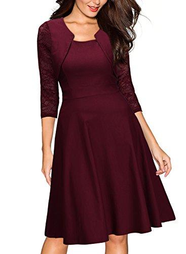 Miusol? Damen Abendkleid Elegant Cocktailkleid Vintage Kleider 3/4 Arm mit Spitzen Knielang Party Kleid Weinrot Gr.S - 3
