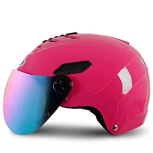 YINUO-Helm Vier Jahreszeiten Universal Elektro Motorrad Helm Männer Und Frauen Winter Halbe Helm Bedeckt Helm Winter Warme Winddicht Rosa