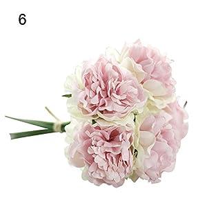 lamta1k 1 Bouquet 5 Piezas de Flores Artificiales Colores Vibrantes con un Toque Real de Apariencia Natural Fake Peony Boda Fiesta Nupcial Decoraci¨®n de la Tienda – Champagne