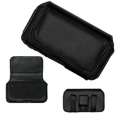 Fosmon Executive Black Horizontal Leather Side Case Pouch with Belt Clip and Belt Loops Compatible with Apple iPhone 1/2/3/4G/S, BlackBerry 9000 Bold/8310 Curve/8100 Pearl/Storm 9530/Curve 8900/8800/8300, HTC Touch Diamond/S620 Excalibur/LEGEND/Hero, Motorola RAZR2 V8/V9, Samsung Omnia i900, Nokia N97/N900, LG GW520/GT505/Cookie Fresh/KP500
