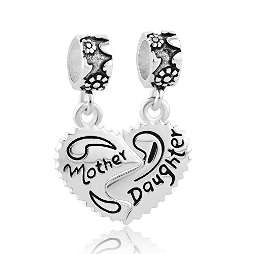 "OutCharmed, charm per braccialetti con pendente a forma di cuore e scritta in inglese ""Mother"", ""Daughter"""