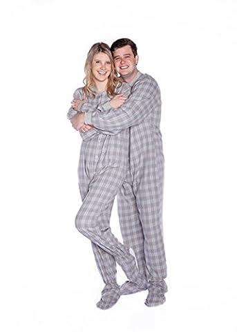 Gris/Blanc/carreaux en flanelle à pied mixte adulte Footie Pyjama rabat avec banane