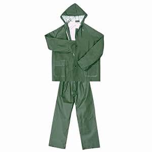 Veste et pantalons imperméables en PVC/polyester/PVC. VERT taille 3XL