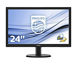 Philips 243V5LHAB/00 59,9 cm (23,6 Zoll) Monitor (VGA, DVI, HDMI, 1ms Reaktionszeit, 1920 x 1080, 60 Hz) schwarz
