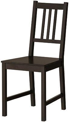 Ikea silla 'Stefan' madera silla silla de cocina gebeizter, pino macizo–Negro Marrón