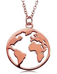 VIASOUL Halskette für Damen I Weltkarte aus 925er Silber mit 585er Gold überzogen I Die Original Weltkugel Kette
