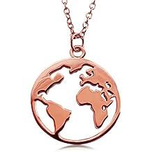 VIASOUL® Halskette für Damen I Weltkarte aus 925er Silber mit 585er Gold  überzogen I Die 4092216cf1