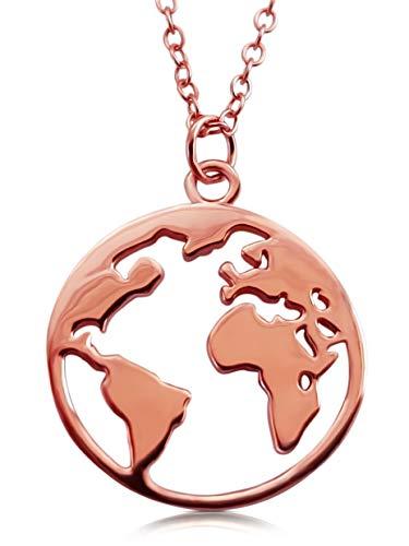 VIASOUL® Halskette für Damen I Weltkarte aus 925er Silber mit 585er Gold überzogen I Die Original Weltkugel Kette (Rose)