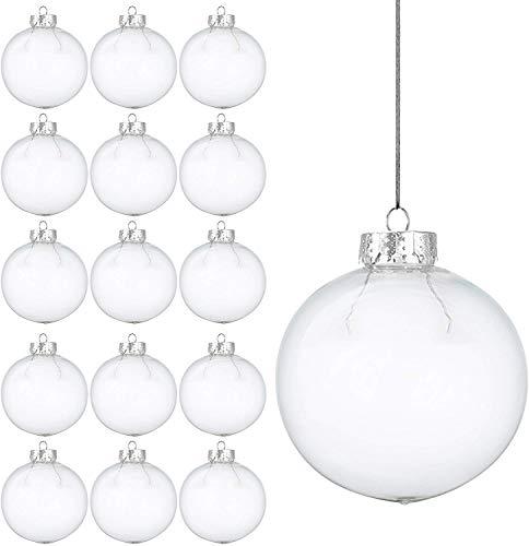 15 Weihnachtskugeln aus transparentem Kunststoff - befüllbare DIY Christbaumkugeln aus Plastik - klare und durchsichtige Kunststoffkugeln zum Befüllen als Christbaumschmuck oder zum Dekorieren
