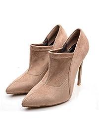 mujer bomba 12.5 cm stiletto punta estrecha zapatos de vestir de gamuza zapatos de la boda encantadora color puro zapatos de la corte del partido zapatos eu tamaño 33-45 ( Color : Beige , tamaño : 40 )