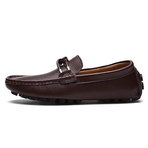 Baymate Chaussures Décontractés Pour Hommes Conduite Designer Mocassins À Enfiler Brun