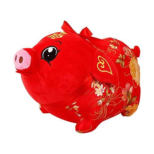 Plüsch Puppe 2019 Jahr des Schweins Maskottchen Satin Schwein PP Baumwolle weich elastische Plüsch Spielzeug Schwein Jahr Zodiac Doll. Dieses Schwein bringt Ihnen Glück, Gesundheit, Glück, ()