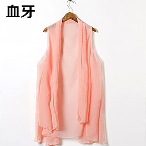 ZMZX*Variety sleeveless chiffon shirt Sun summer women in shawls scarves long multi-purpose scarf riding beach towel (long 180cm wide 105cm),Shell pink/peach beige