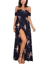 URSING Robe de Soirée Femme de Grande Taille Boho Hors épaule Robe Florale  Dames Longue Robe c24b56ea0b3