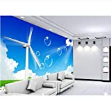 Guyuell Wand-Wohnzimmerwandaufkleber-Windmühlengras Der Fototapete Kundenspezifische Größe Der Fotowand 3D, Die Sofa Fernsehhintergrundwandtapete Malt-350Cmx245Cm