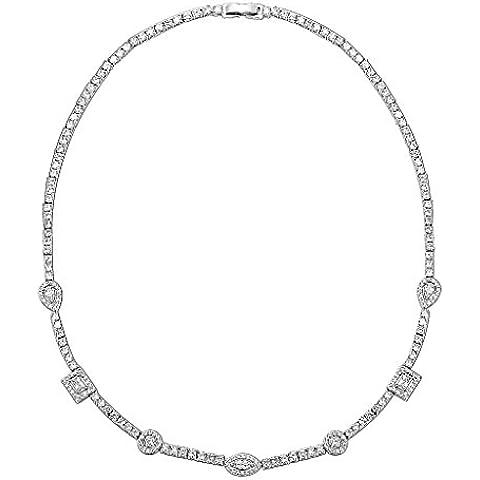 Gnzoe Placcato argento Donna A goccia Cuore Square CZ Diamante(Laboratorio creato) Orecchini & Collane Argento Parure di