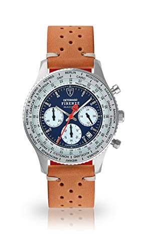 DETOMASO Firenze Racing Mens Watch Chronograph Analog Quarz Brown Racing Vintage Leather Strap Blue dial DT1069-A-843