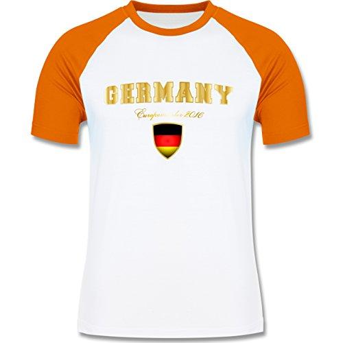 EM 2016 - Frankreich - Germany Europameister 2016 - zweifarbiges Baseballshirt für Männer Weiß/Orange