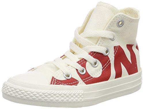 Converse Unisex-Kinder CTAS HI Fitnessschuhe, Mehrfarbig (Natural/Enamel Red/Egret 100), 33 EU (Converse Schuhe Jungen Red)