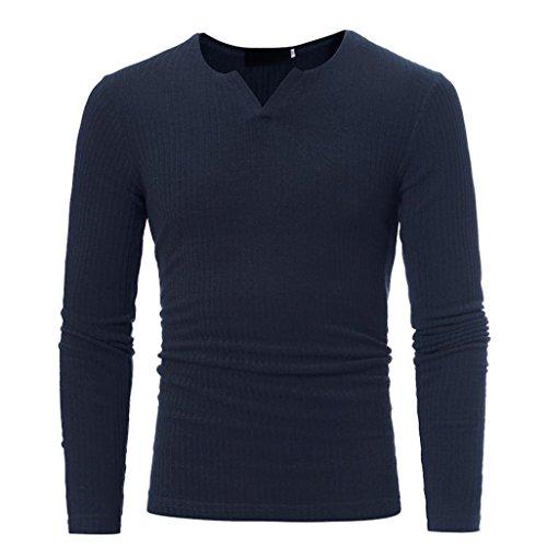 Amlaiworld 6 Farbe Herren Herbst Freizeit Sweatshirt dick Winter Pullover Warm Langarmshirts Eng Fitness Mäntel Mode Sport Pulli Weich Oberteil (XXXL, Dunkelblau)