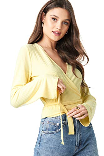 NA-KD - Damen Oberteile Ribbed Wrap Tie Langarmshirts Top Gelb
