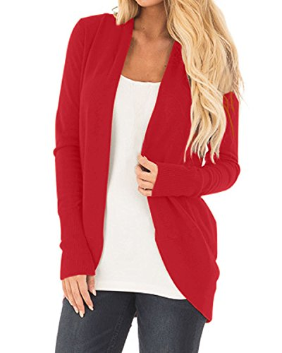 CNFIO Damen Strickjacke Casual Cardigan Langarm Stricken Pullover Outwear mit Taschen Mantel Jacke Winter rot XL