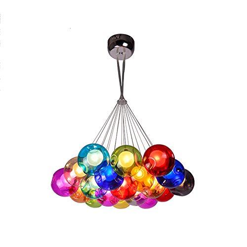 Modern Farbig Verzweigten Pendelleuchte,Glaskugel Pendelleuchte Glas Hängelampe Lüster Deckenlampe Höhenverstellbare 100cm Für Dekorative Beleuchtung Inklusiv 3W LED G4 Glühbirne,19Kopf - 3-licht-moderne Pendelleuchte