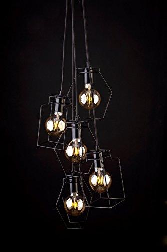 839 Ein Licht (Industrie Pendelleuchte / schwarz / 5-flammig / E27 / Loft Lampe / Frame Design / Zapfenschirm / Rahmenleuchte / Loftleuchte / Lampengestell / Hängelampe Retro Stil / Wohnzimmer Beleuchtung)