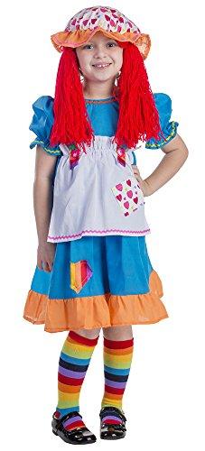 Und Ann Andy Kostüm - Dress Up America Mädchen Kinder Regenbogen Stoffpuppe Kostüm
