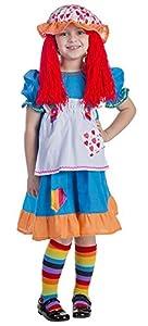 Viste a América - 775-S - Disfraz de Trapo muñeca de Trapo para Las niñas - 4-6 años - 107 cm Cintura