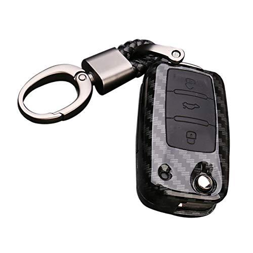 Happyit ABS Carbon Fiber Shell + Silikon Autoschlüssel Abdeckung Fall Keychain für Volkswagen VW Bora Käfer Tiguan Polo Passat Jetta Sitz Sagitar Golf 6 (B Schwarz + Schwarz)