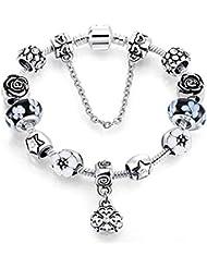bb259d746b18 Pulseras para Mujer Pulsera De Cristal De Moda Pandora Lake Negro Rosa  Plateado Joyas Patrón Corazón