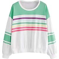 Luckycat Las Mujeres Ocasionales de Manga Larga de impresión de Rayas Jersey Blusa Camisas Sudadera