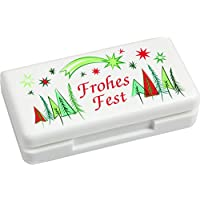 Pillendose mit 3 Fächern - Design Weihnachten - Tablettenbox aus Kunststoff weiß - Größe Pillenbox 6,5 x 3,5 x... preisvergleich bei billige-tabletten.eu