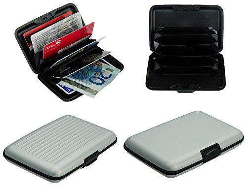 Aluminium Kreditkartenetui mit 6 Fächer in silber (erhältlich in 8 verschiedenen Farben) , Visitenkartenetui, Kreditkartenhülle, Alu Card Case Wallet, Schutzhülle von Kobert-Goods -
