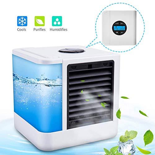 Mobiles Klimagerät Cool Luftkühler Befeuchter Ventilator mit USB Anschluß oder Netzstecker Hydro-Chill Technologie 3 Kühlstufen 7 Stimmungslichter
