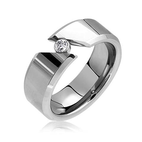 Bling Jewelry lisser la Tension Set Cubic Zirconia bague tungstène 8mm