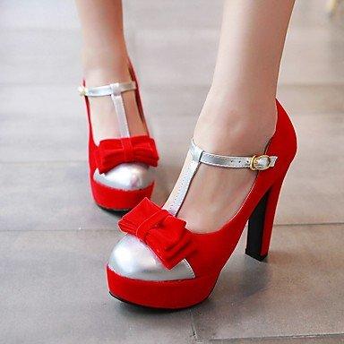 Talloni delle donne Primavera Estate Autunno Club Scarpe in microfibra Party & Sera casuale tacco grosso bowknot Fibbia Nero Rosso Red