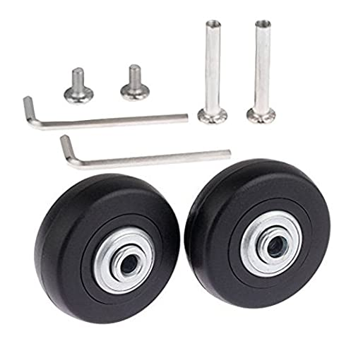 Roulettes de remplacement pour valise/patin extérieur intérieur noir avec roulements ABEC 608ZZ (50×18mm)
