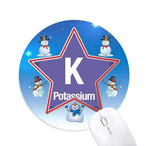 K Kalium Chemisches Element chem Schneemann Maus Pad Round Star Mat