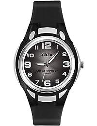 Relojes Analógicos para Niños, Niñas Impermeable Fácil de Leer Relojes de Pulsera con Correa Suave para Niñas (Negro)