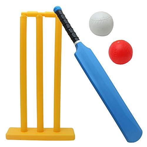 Twiddlers Kinder Cricket Spielzeug Set - 1 Schläger, 2 Bälle, 3 Stümpfe - Gartenspiel, Ballspiel, Wurfspiel, ,Strandspiel - Mehrfarbig - EIN tolles Spiel für unterwegs & Zuhause im Garten