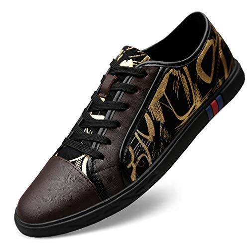 4d802c4bed68aa Zapatos Deportivos para Hombres Versión Coreana de The Tide Shoes Cuero  Soft Leather Soft Bottom Men's Shoes Zapatos cómodos 36-46-C-37