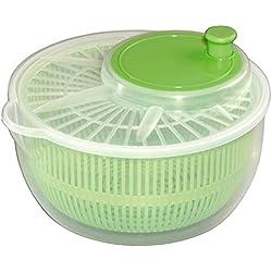 Xavax Essoreuse à salade (avec manivelle et bec verseur, diamètre 24 cm, séchoir à salade avec tamis, utilisable aussi comme clé pour laitue et passoire) Transparent/Vert