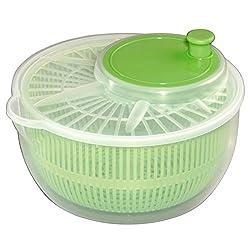 Xavax Salatschleuder mit Kurbel und Ausgießer (Durchmesser 24 cm, Salat-Trockner mit Sieb, auch als Salatschlüssel und Seiher verwendbar) transparent/grün