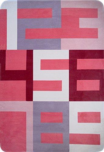 Art For Kids 70 x 100 cm 100 por ciento de tejido polar de poliéster de tacto suave y números mesilla de noche alfombra, Rosa