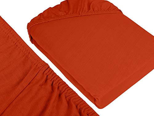 npluseins klassisches Jersey Spannbetttuch - erhältlich in 34 modernen Farben und 6 verschiedenen Größen - 100% Baumwolle, 90-100 x 200 cm, kaminrot - 3