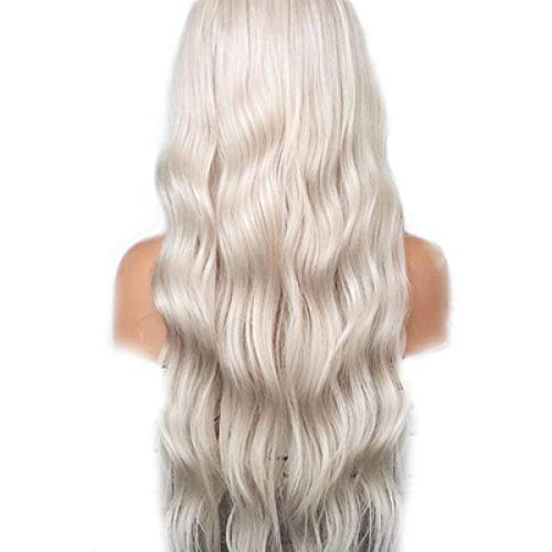 Qlldwxu Wig White Gold Blonde Wig with Baby Hair Style 26 inch Synthetic lace Front Wig Without Glue Heat Wig Women@22 inches