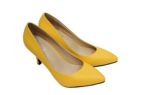CFP ,  Damen Durchgängies Plateau Sandalen mit Keilabsatz Gelb