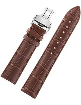 13mm braun High-End-elegant schmalen Frauenmädchen Uhrarmbänder Silber Einsatz Premium-italienischen Leder Schnalle
